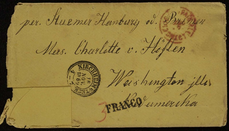 Höfeln family letter, November 14, 1869, envelope, front