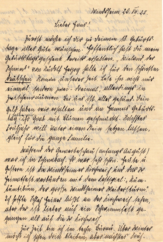 Philipp Weinhardt to John V. Weinhardt, August 20, 1925