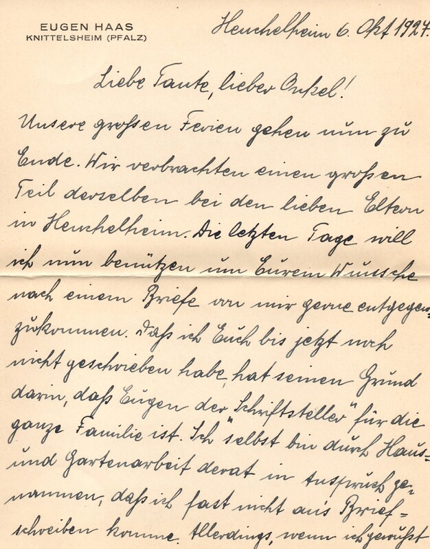 Eugen and Lisbeth Haas to Eugen Klee, October 6, 1924