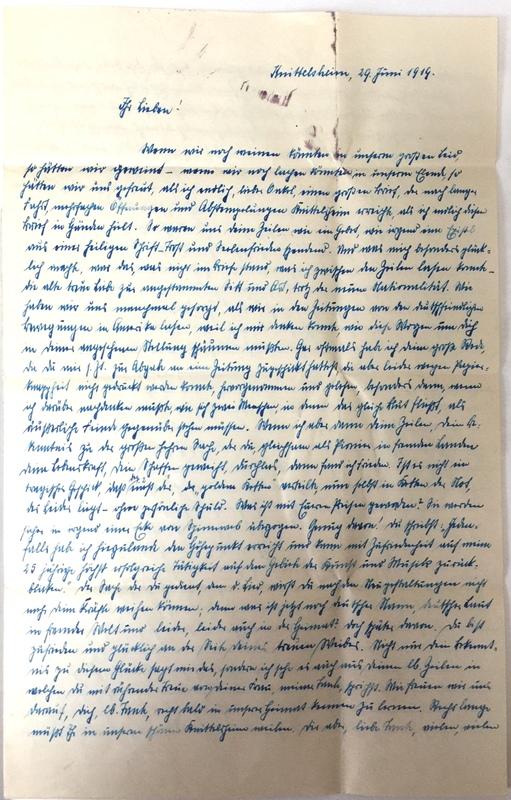 Eugen Haas to Eugen Klee, June 29, 1919, page 1