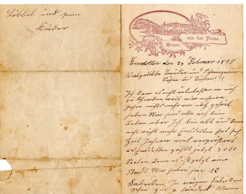 Hermann Kamp to Bernard Kamp, February 24, 1895