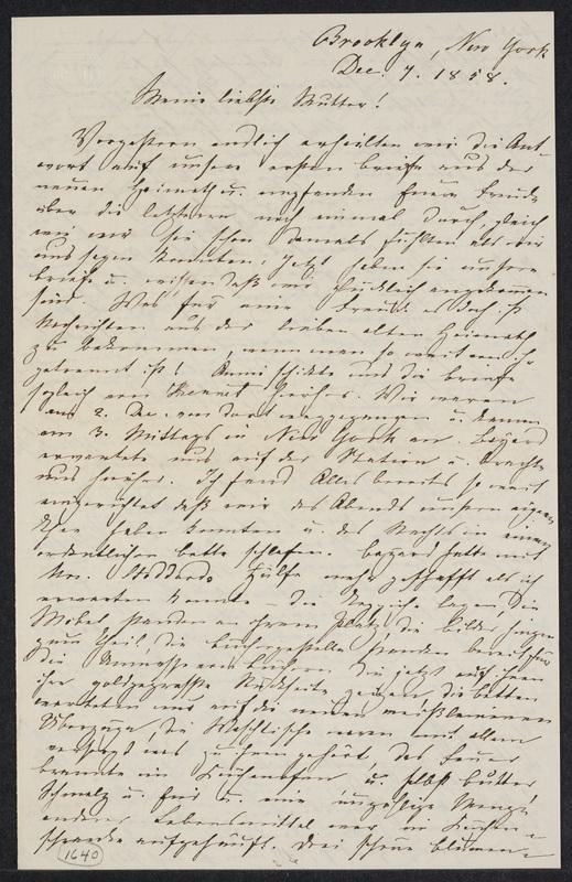 Marie Hansen Taylor to Lina Hansen, December 7, 1858, p. 1