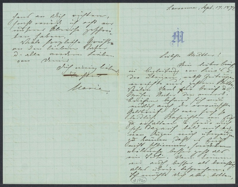 Marie Taylor to Lina Hansen, September 17, 1872
