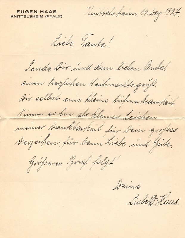 Lisbeth Haas to Emma Klee, December 14, 1927