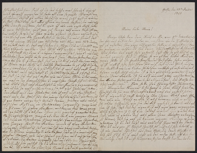Lina Hansen to Marie Hansen Taylor, January 23, 1860
