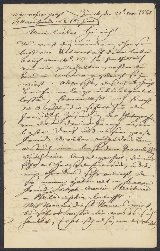 Friederich Hilgard to Henry Villard, May 21, 1868