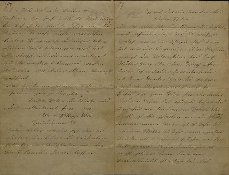 Schulz family letter, November, 1886
