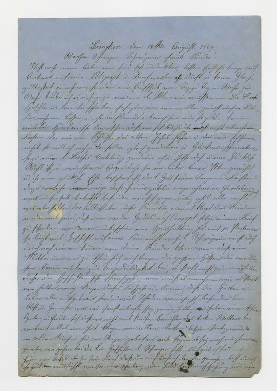 Schweitzer family letter, August 18, 1869