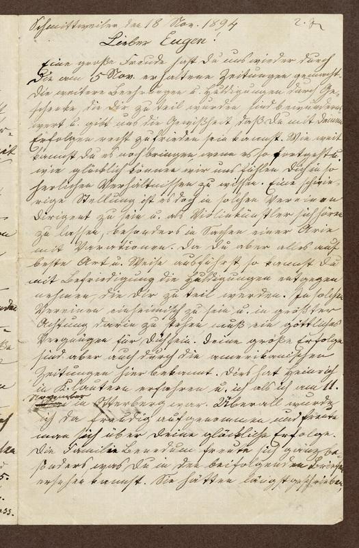 Amalia Haas to Eugen Klee, November 18, 1894