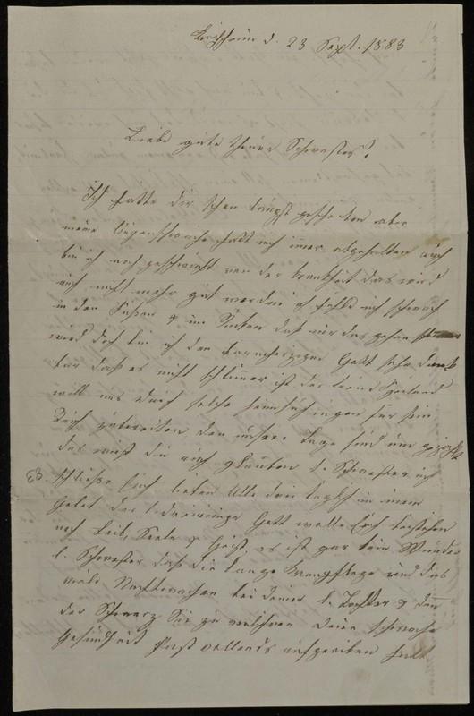 Babette Tritschler to Charlotte von Höfeln, September 23, 1883