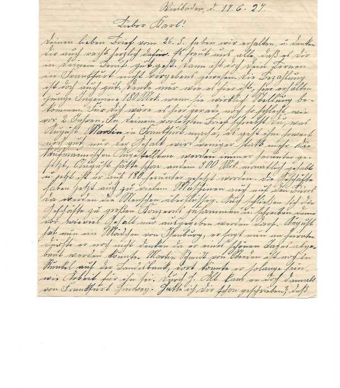 Caroline Emmel to Karl Emmel, June 17, 1927