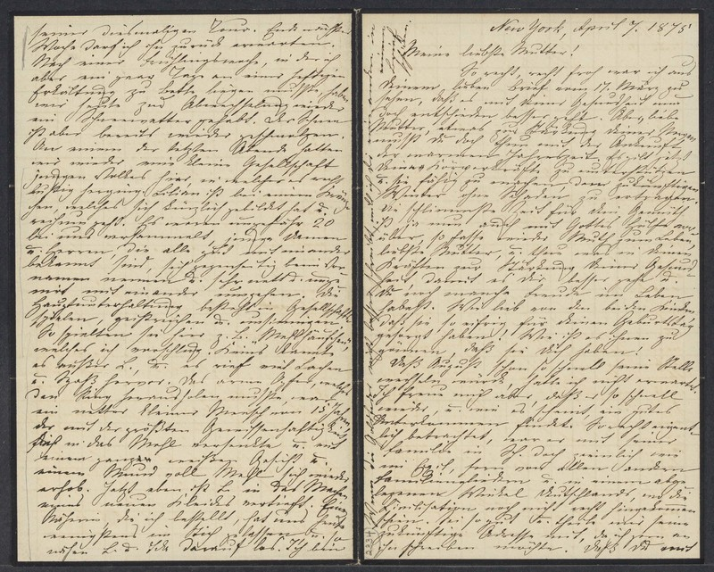 Marie Taylor to Lina Hansen, April 7, 1875
