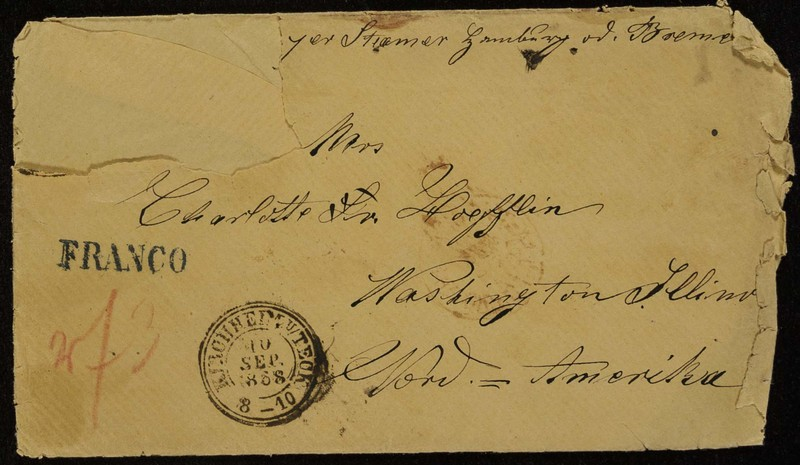 Höfeln family letter, September 6, 1868, envelope (front)