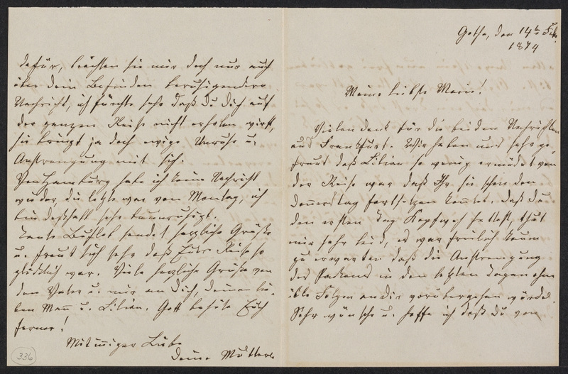 Lina Hansen to Marie Taylor, February 14, 1874
