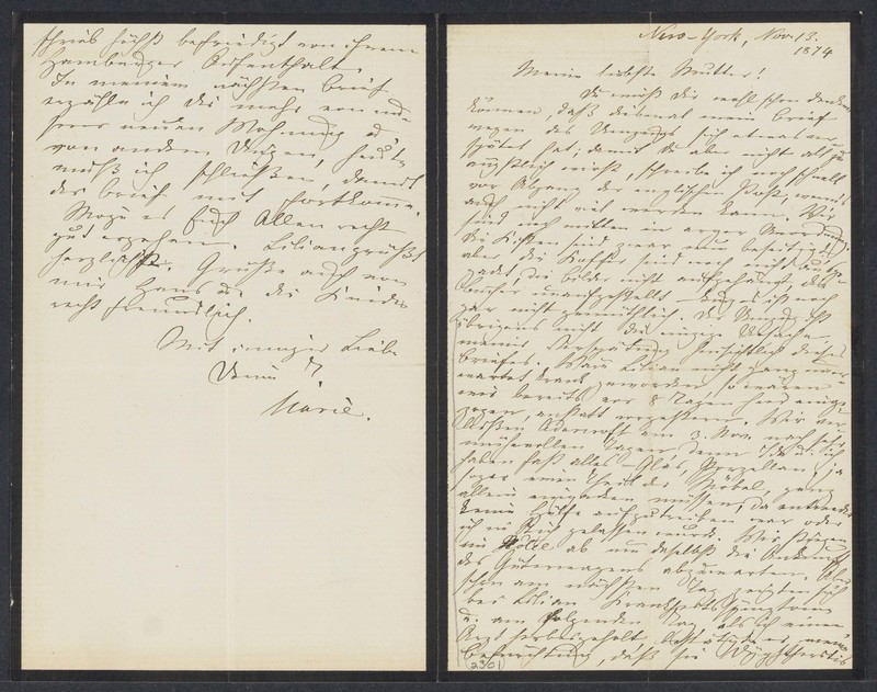 Marie Taylor to Lina Hansen, November 13, 1874