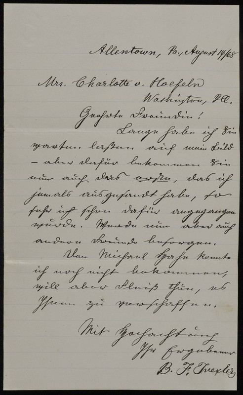 Höfeln family letter, March 24, 1868