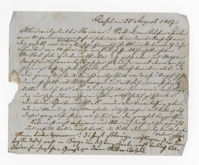 Heinrich and Clotilde Crede to Hermann Crede, August 23, 1857