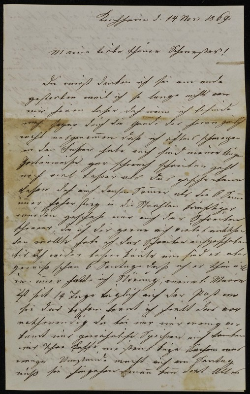 Höfeln family letter, November 14, 1869