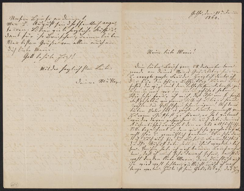 Lina Hansen to Marie Hansen Taylor, January 21, 1864