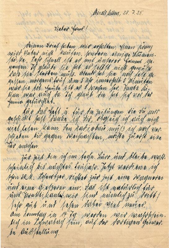Philipp Weinhardt to John V. Weinhardt, July 28, 1925