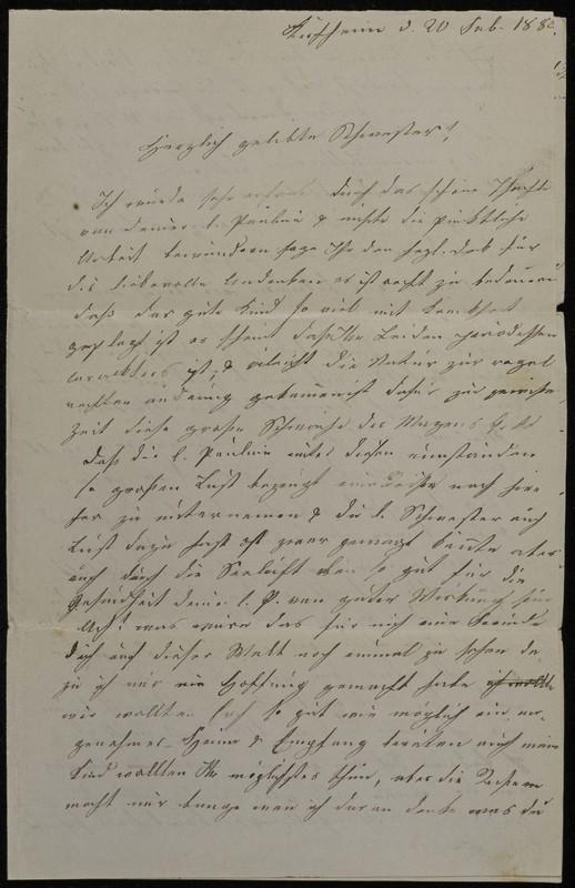 Babette Tritschler to Charlotte von Höfeln, February 20, 1882