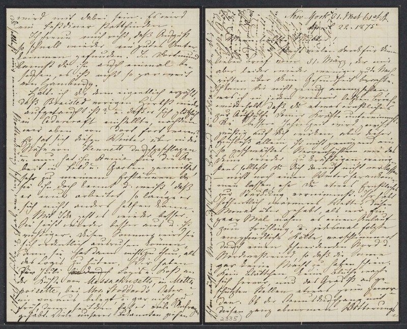 Marie Taylor to Lina Hansen, April 22, 1875