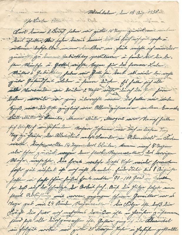 Caroline Emmel and Wilhelm Emmel to Karl Emmel, August 18, 1938