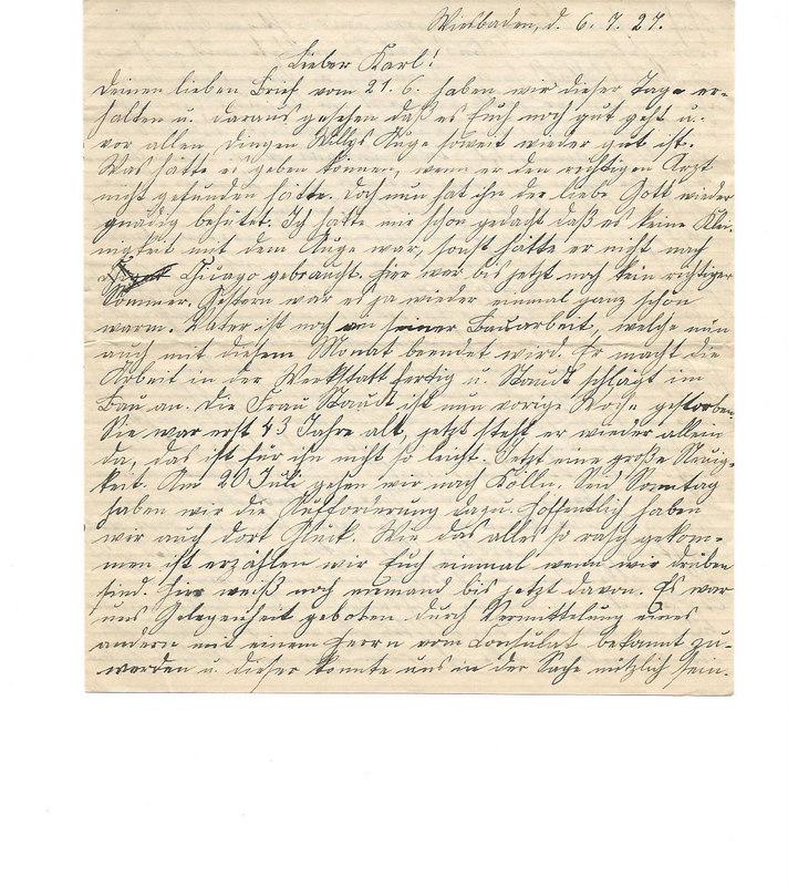 Caroline Emmel to Karl Emmel, July 6, 1927