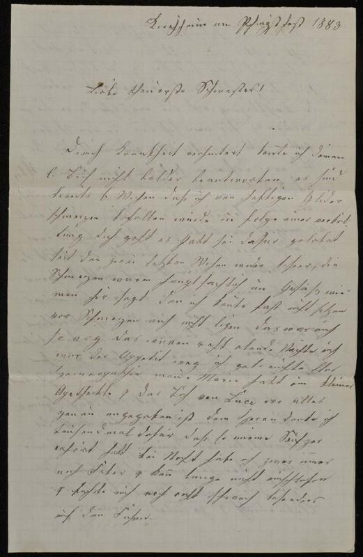 Babette Tritschler to Charlotte von Höfeln, May 14, 1883