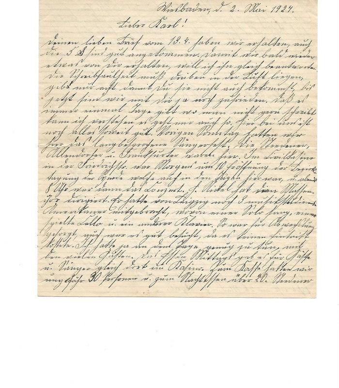 Caroline Emmel to Karl Emmel, May 2, 1927