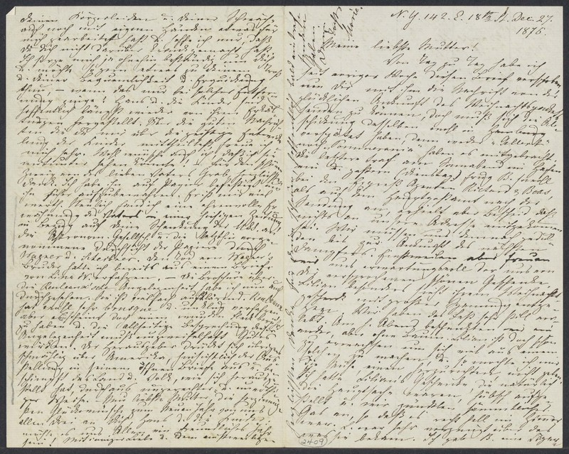 Marie Taylor to Lina Hansen, December 27, 1876