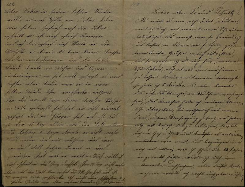 Schulz family letter, March 25, 1892, page 2 [left-hand] and page 3 [right-hand]