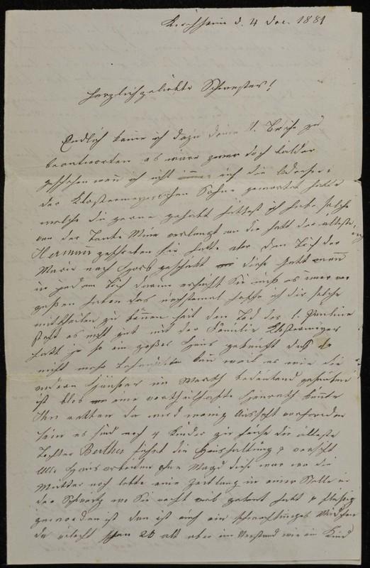 Babette Tritschler to Charlotte von Höfeln, December 4, 1881