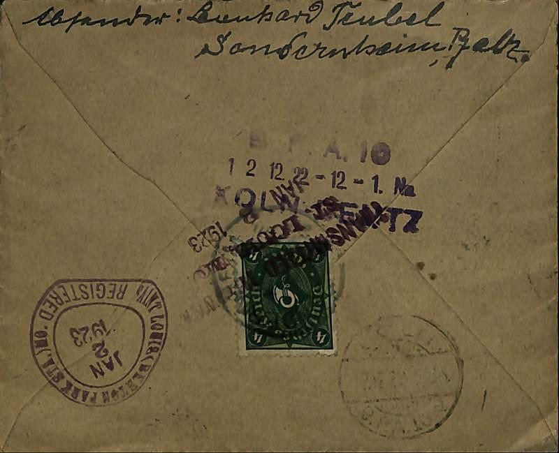 Leonhard Teubel to Joseph Woerner, Dec. 8, 1922, envelope (back)