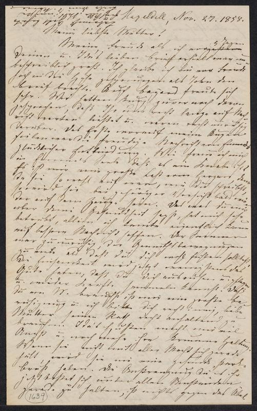 Marie Hansen Taylor to Lina Hansen, November 27, 1858, p. 1