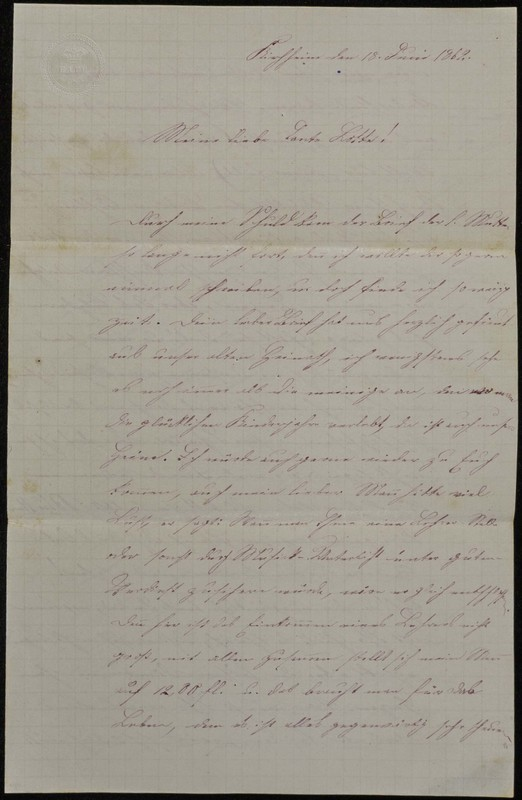 Höfeln family letter, June 18, 1869