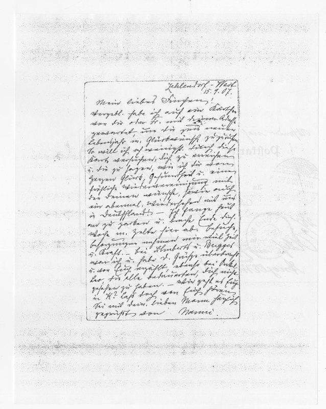 Benecke family letter, September 15, 1907