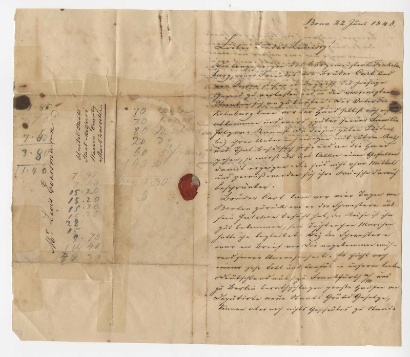 Julius Eversmann to Lewis Eversmann, June 22, 1848
