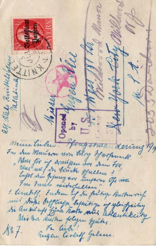 Eugen Haas to Eugen and Emma Klee, July 5, 1919, postcard #7 (back)