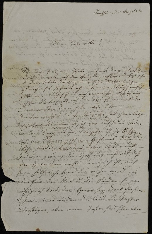 Hofeln family letter, August 15, 1868, page 1