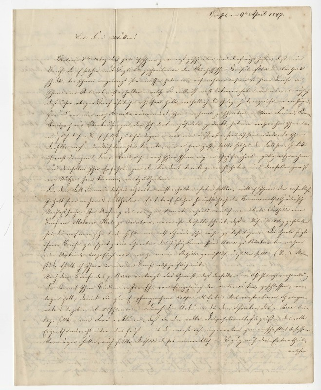 Carl Heinrich and Clothilde Crede to Margarete Classen, April 9, 1847