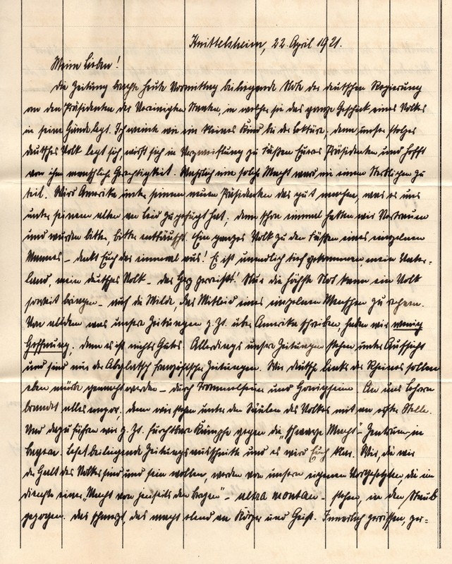 Eugen Haas to Eugen Klee, April 22, 1921, p. 1