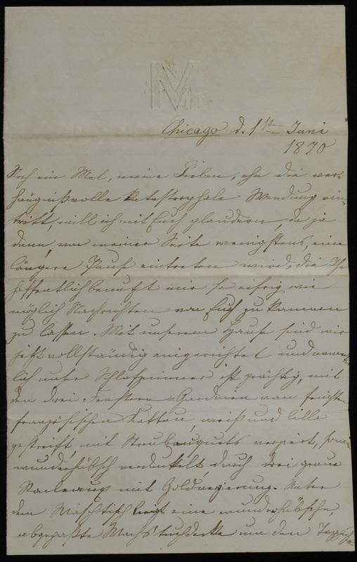 Margarethe Raster to Anna Oppenheim, June 1, 1870