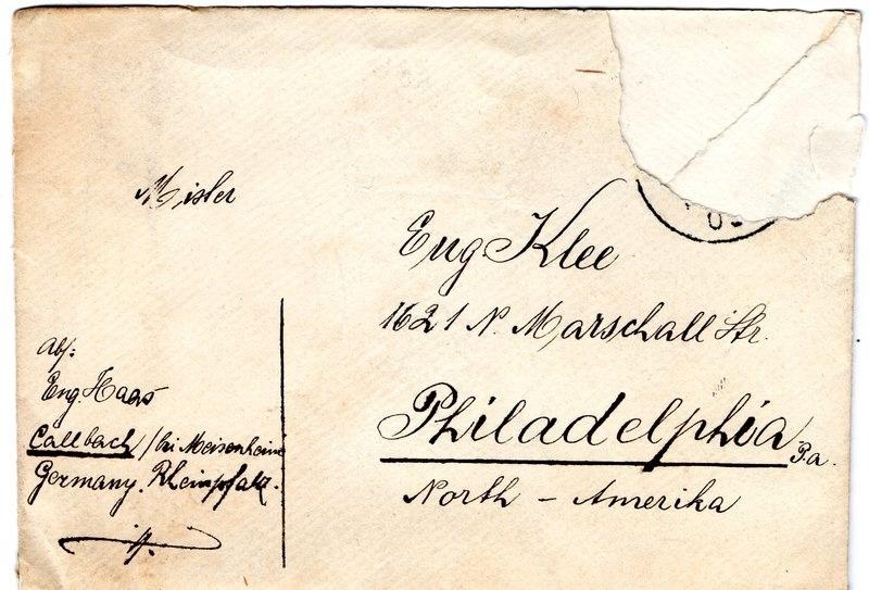 Eugen Haas to Eugen Klee, August 25, 1909, envelope
