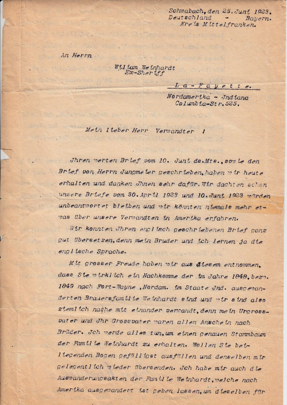 Hans V. Weinhardt to William W. Weinhardt, June 25, 1923