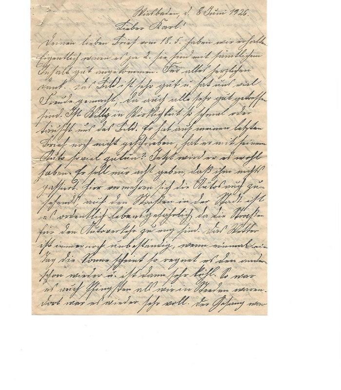 Johanna Emmel to Karl Emmel, June 8, 1926