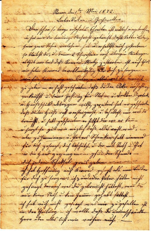 Dorothea Schuhmacher to Gottfried Handel, May 1, 1872 [1 of 2]