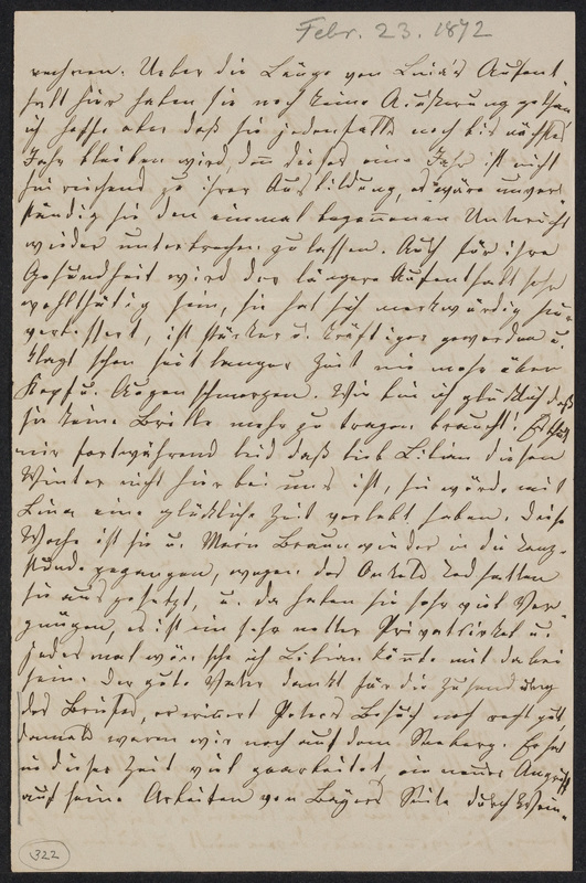 Lina Hansen to Marie Taylor, February 23, 1872