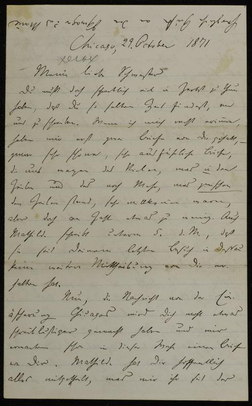 Hermann Raster to Sophie Raster, October 29, 1871