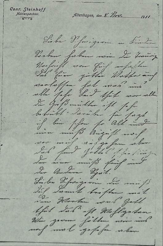 Conrad Steinhoff to Gisela Blumenberg, November 8, 1911, p. 1